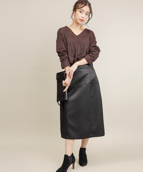 [MERVEILLE H.] エコレザー 台形 スカート