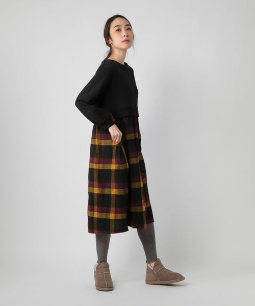[studio CLIP] 裏毛ドッキングワンピース[WEB限定プラスサイズ]