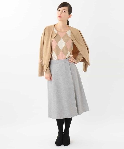 [OFUON] タッキング台形スカート