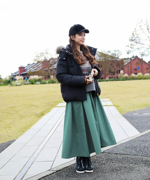 [niko and...] 配色タックギャザースカート