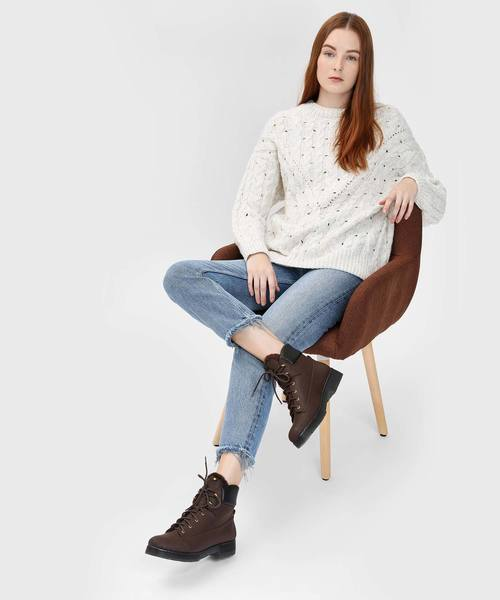 [CHARLES & KEITH] ファーリーカフ レースアップブーツ / Furry Cuff Laced Up Boots