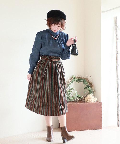 [Sawa a la mode] マルチカラーでリングベルト付き膝丈スカート