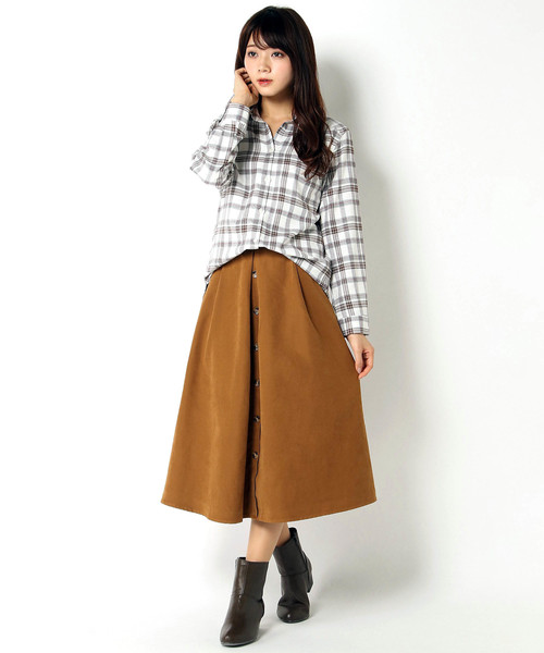 [ikka LOUNGE] ポリピーチ前ボタンスカート