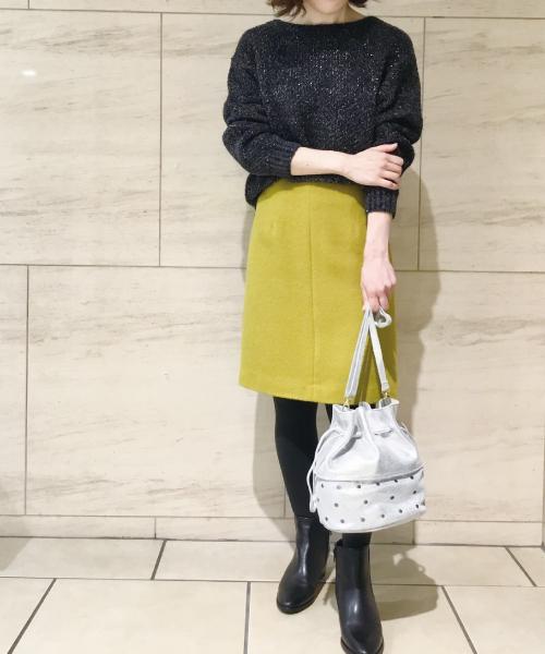 アルパカ混シャギーAラインスカート