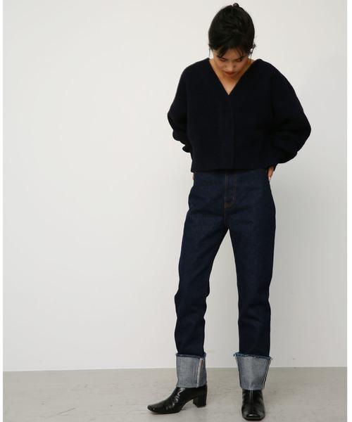 volume sleeve short cardigan