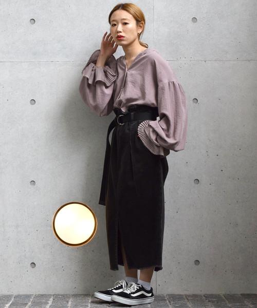 [w closet] 袖プリーツシャツブラウス