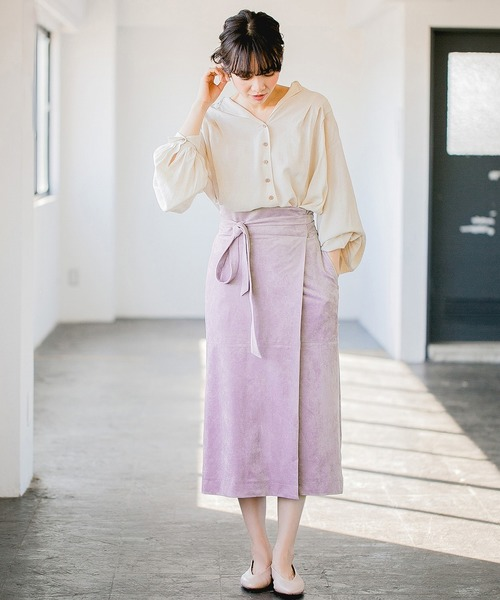[apart by lowrys] Fスエードラップタイトスカート 822370