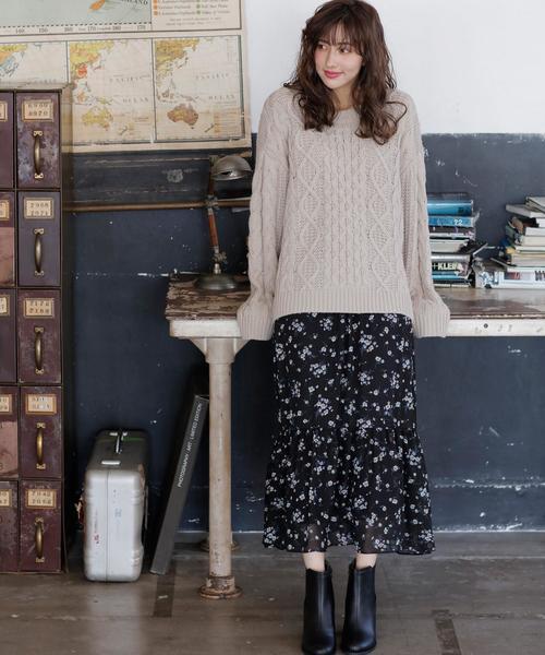 花柄シフォンティアードロング/スカート