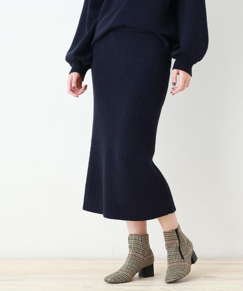 ミディ丈リブニットナロースカート