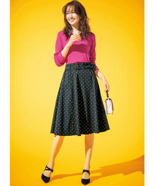 [RyuRyu] 【19春新着】嬉しい機能付!ベルト付美ラインフレアースカート