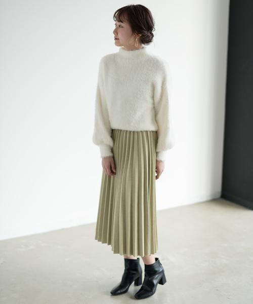 [Auntie Rosa] 【Holiday】プリーツミディ丈ニットスカート