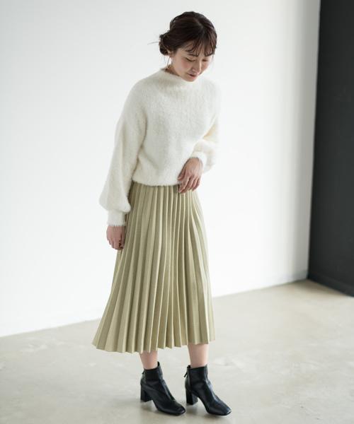 プリーツミディ丈ニットスカート