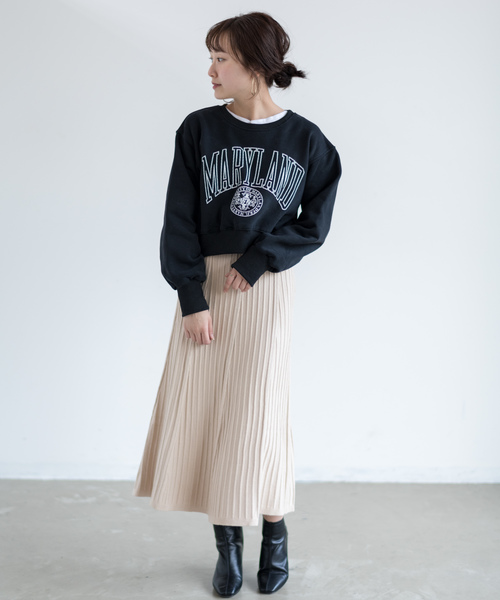 [Auntie Rosa] 【Holiday】リブニットプリーツスカート
