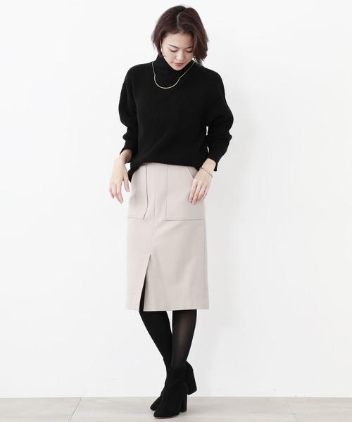 【STUDIOUS】フロントベンツ ミディタイトスカート