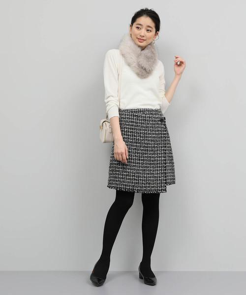 [ROPE'] 【セットアップ対応】ツイードラップ風スカート