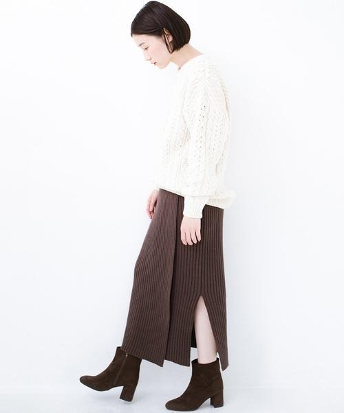 [haco!] カジュアルに合わせてもオンナっぽさを忘れないロングニットスカート by MAKORI