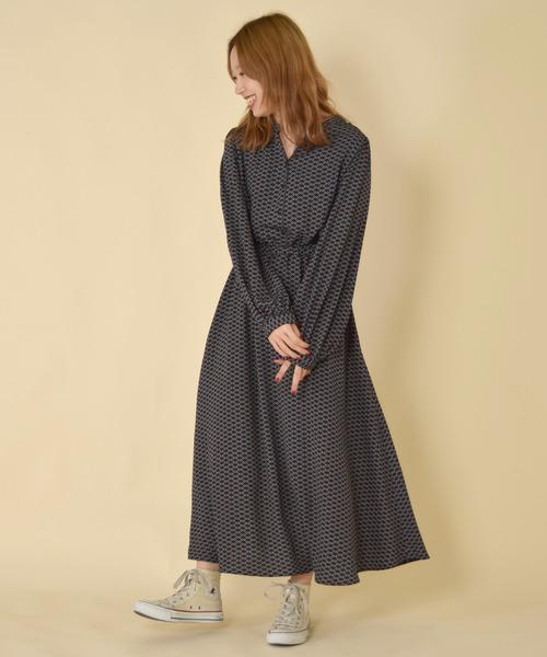 [w closet] 小紋柄ボリューム袖ワンピース
