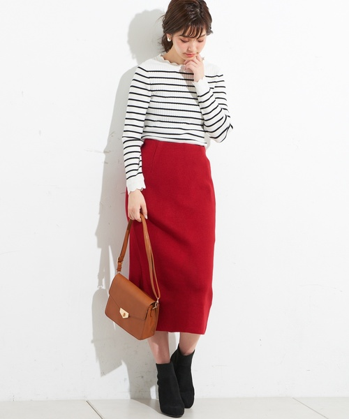 [natural couture] ニットきれいめナロースカート