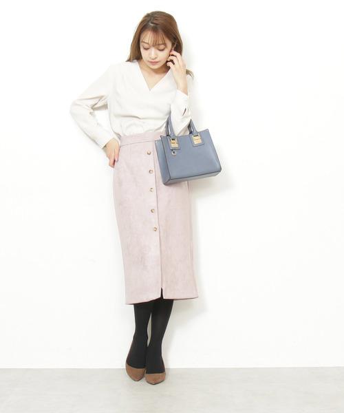 ピンク系 スエードスカート