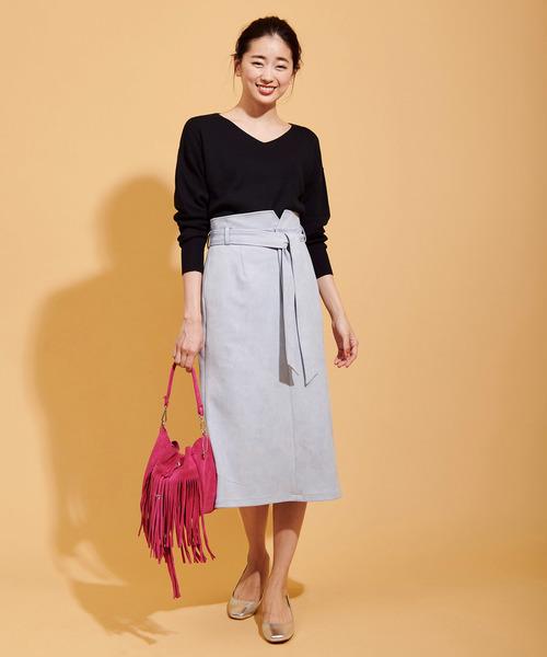 [The Virgnia] カラースエードタイトスカート
