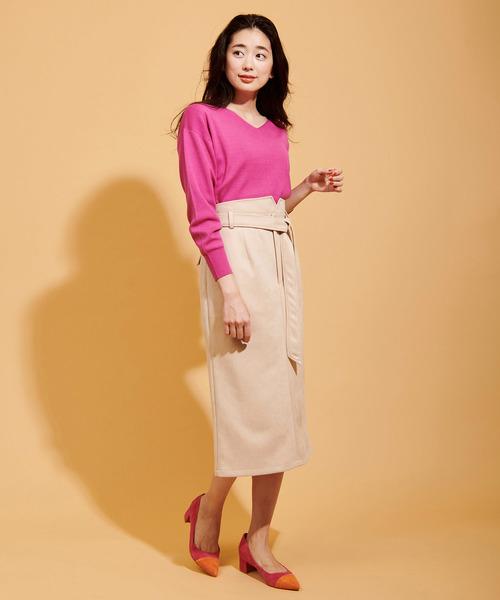 カラースエードタイトスカート