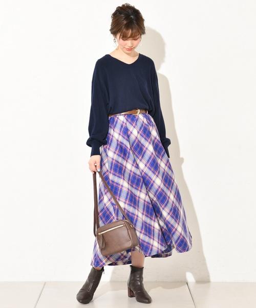 [natural couture] カシミアタッチ春色Vネック
