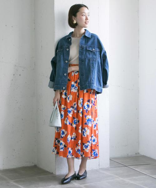 [URBAN RESEARCH] カットジャガードフラワープリントスカート