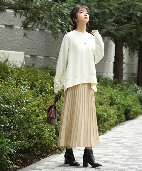 [ViS] 【WEB限定】配色ニットプリーツスカート