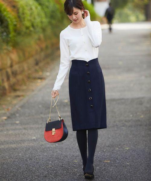 [tocco closet] フロント飾り釦デザインウールタイトスカート