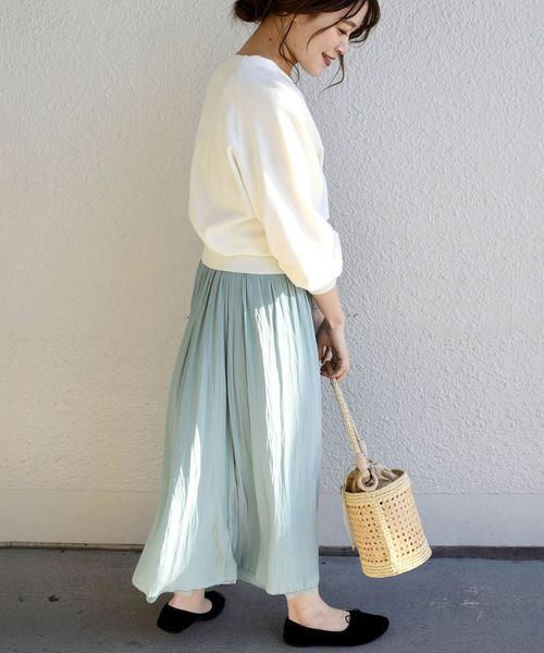 [SHIPS for women] 【手洗い可能】リバーシブルチュールスカート◇