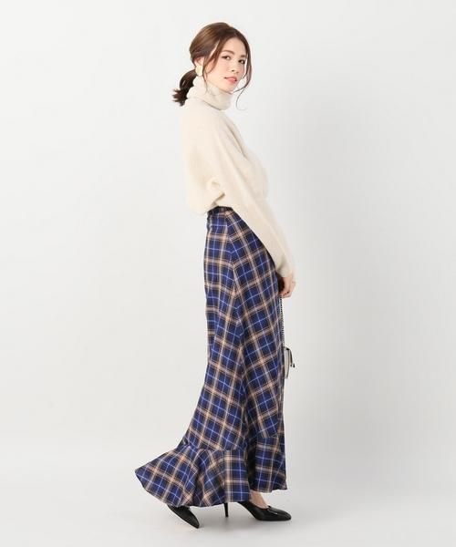 タータンマキシサーキュラースカート