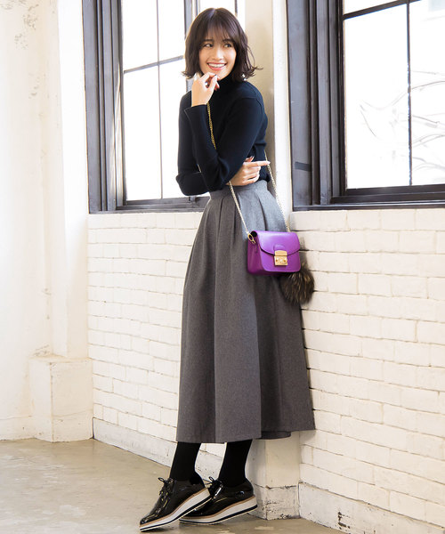 [kobelettuce] ウールタッチorレザータッチ素材タックボリュームフレアスカート