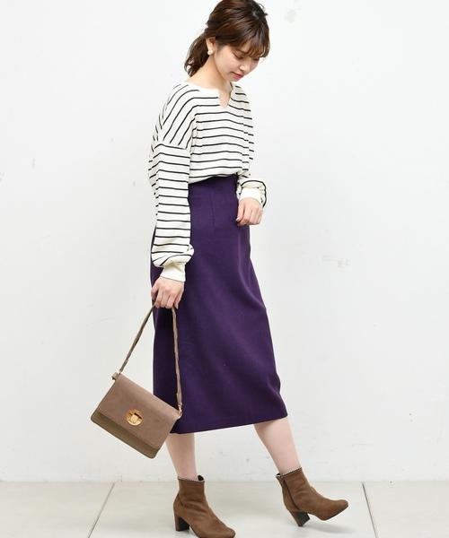 [natural couture] 厚手ワッフルキーネックプルオーバー