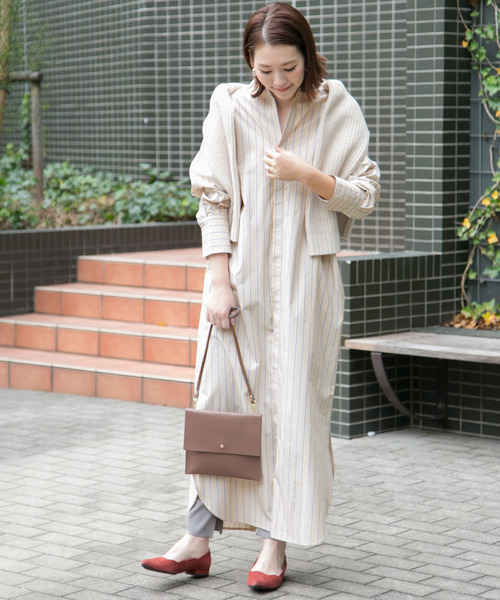 [URBAN RESEARCH ROSSO WOMEN] ストライプマキシシャツワンピース