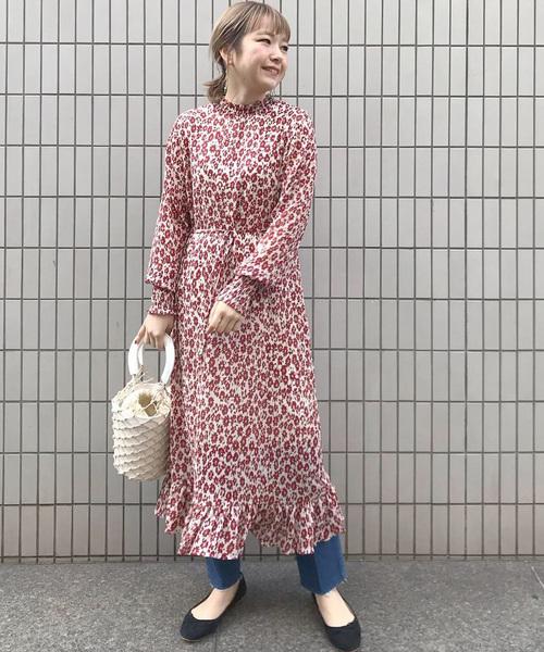 花柄楊柳シフォンドレス