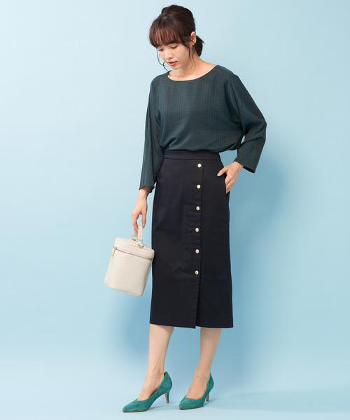 [COLLAGE GALLARDAGALANTE] ドット釦ミモレタイトスカート
