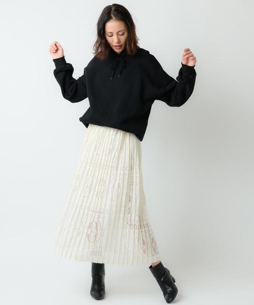 [Auntie Rosa] 【Holiday】ボリュームレースプリーツスカート