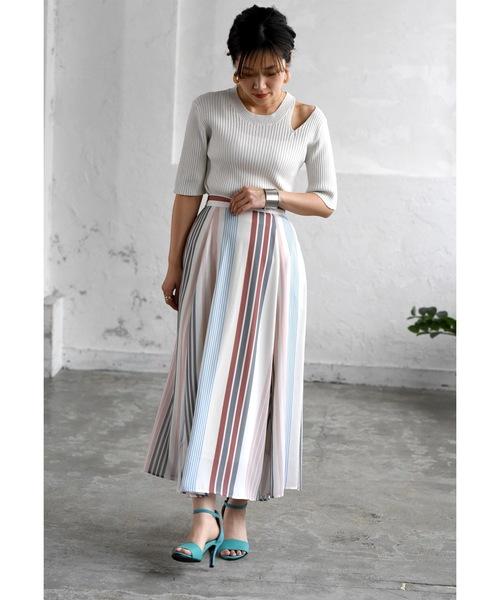 [Eimee Law & WASH] マルチカラーストライプサイドランダムスカート