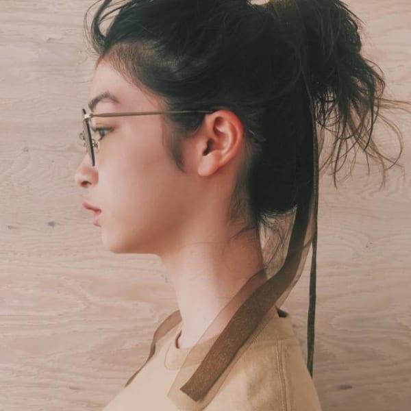 黒髪ミディアム アレンジスタイル8