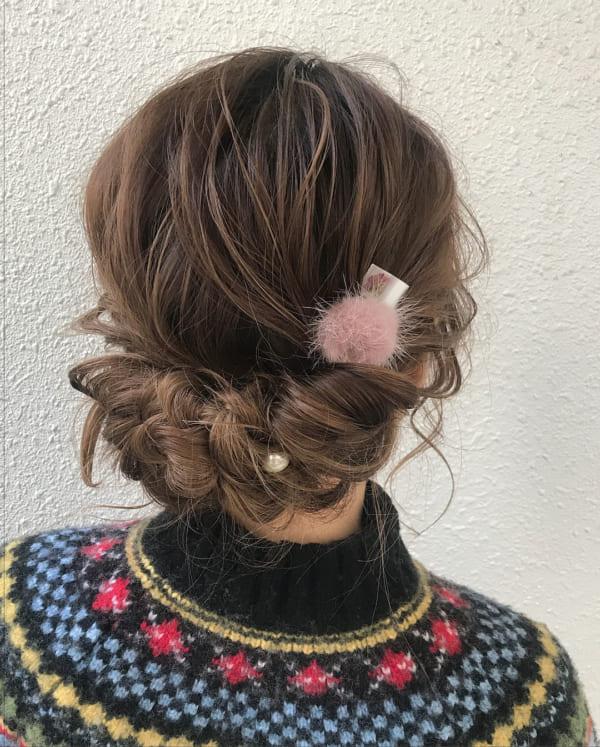 ミディアムヘア 編み込み アップ アレンジ18
