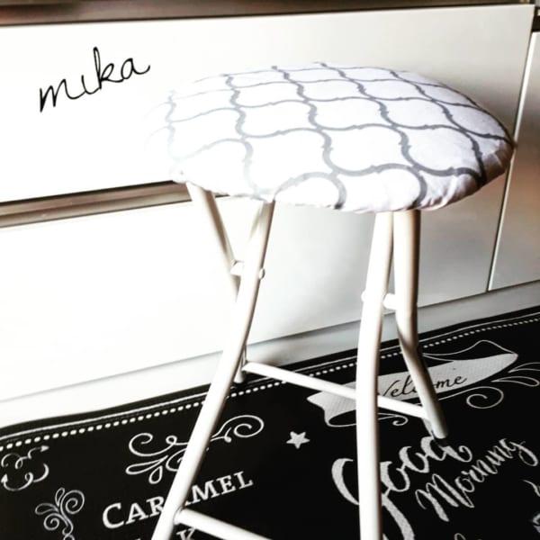 モロッカン柄の丸椅子カバー