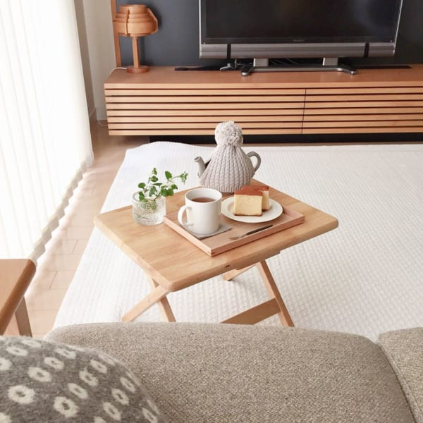 山善:天然木 折りたたみサイドテーブル