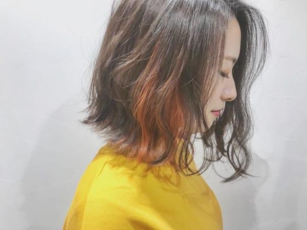 インナーカラー・メッシュ オレンジ2