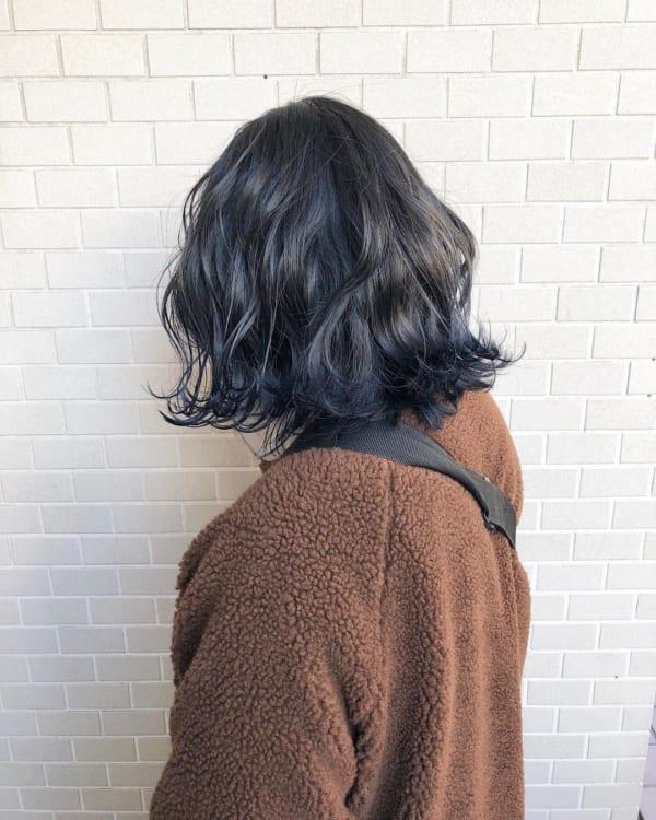 インナーカラー・メッシュ 青