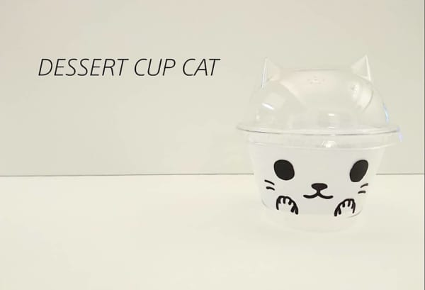 ねこみみ型デザートカップ(キャンドゥ)