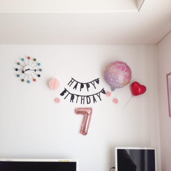 誕生日の飾り付け方 ピンク