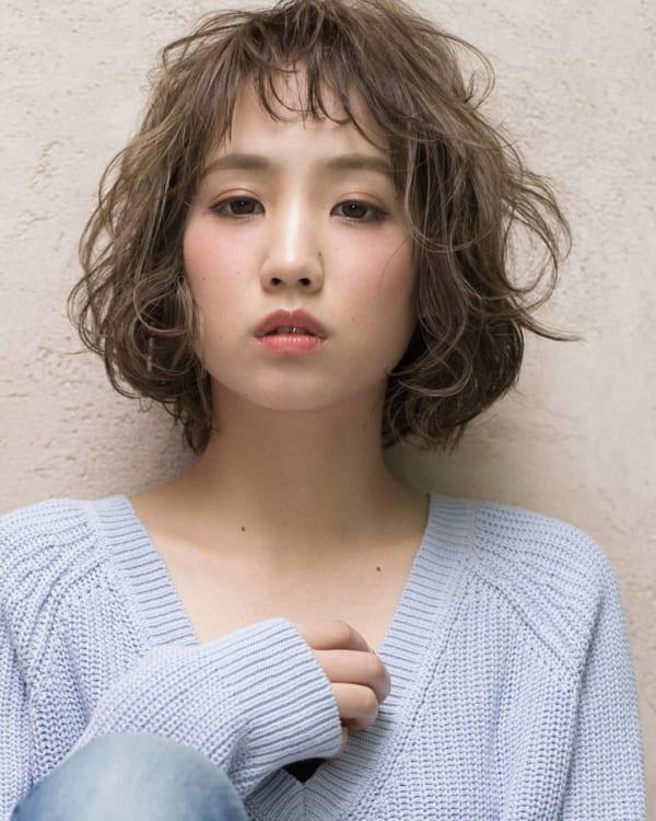前髪短めショートボブパーマ6