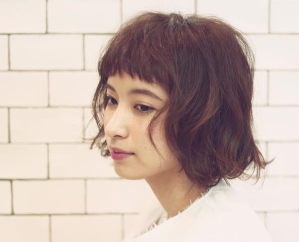 前髪短めショートボブパーマ7