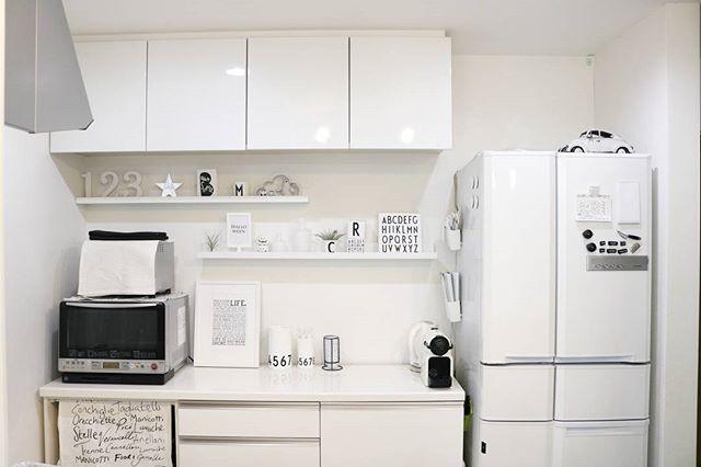 冷蔵庫周りのインテリア ホワイトインテリア2