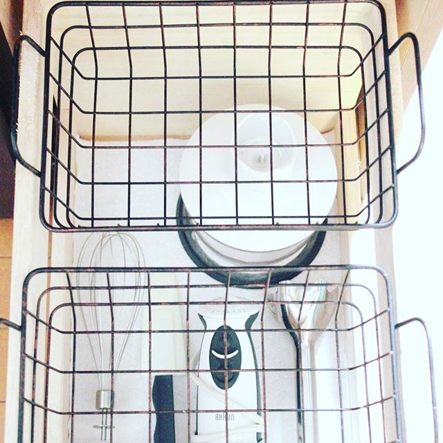 レジ袋収納 ワイヤーバスケット